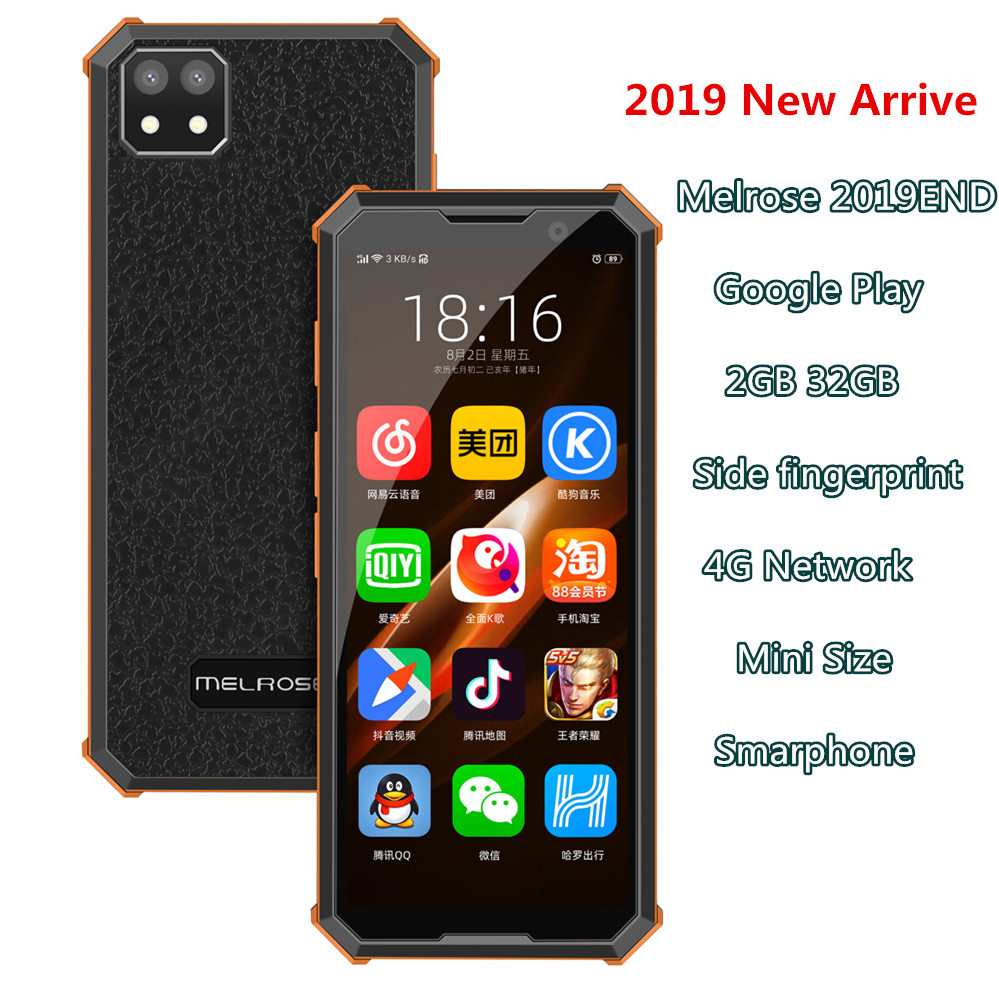 Melrose 2019end Mini Android Smartphone 2GB 32GB Side Fingerprint Wifi 3.5'' 2000mAh Luxurious Small Pocket Backup Mobile Phone
