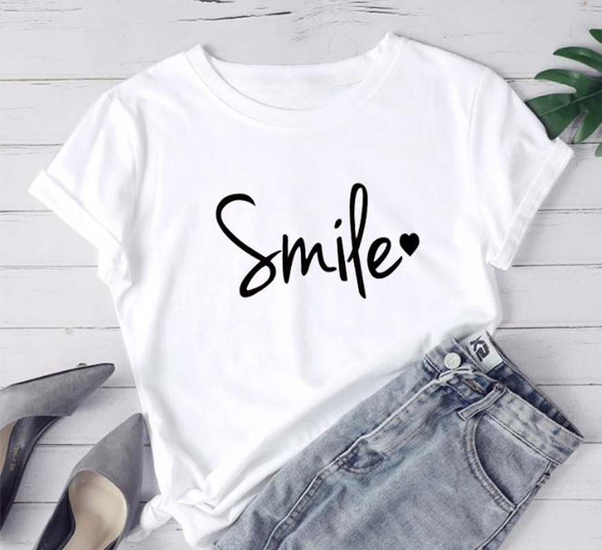 Fashion Casual Women T-Shirt Smile Letter Print Short Sleeve O-Neck Cute Tee Tops Girls' Graphic Tumblr Tee Shirts