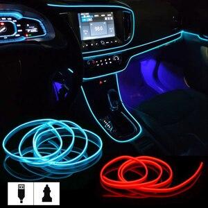 Интерьер автомобиля светильник s EL провода окружающей среды светодиодный гибкий Rgb светодиодные ленты авто гибкий атмосферу Neno трубка Мягкая USB лампа светильник ing трос лента светильник
