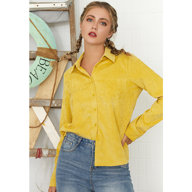 ONLY Plus Autumn Yellow Corduroy Blouse V-Neck Long Sleeve Buttoned Up Shirt High Street Female OL Blouse With Pocket
