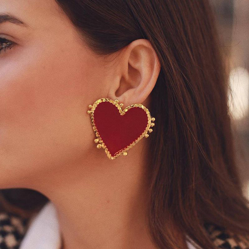 2020 New Design Red Heart Drop Earring Female Metal Color Gold Eye Heart Lips Wedding Statement Earrings Fashion Party Jewelry