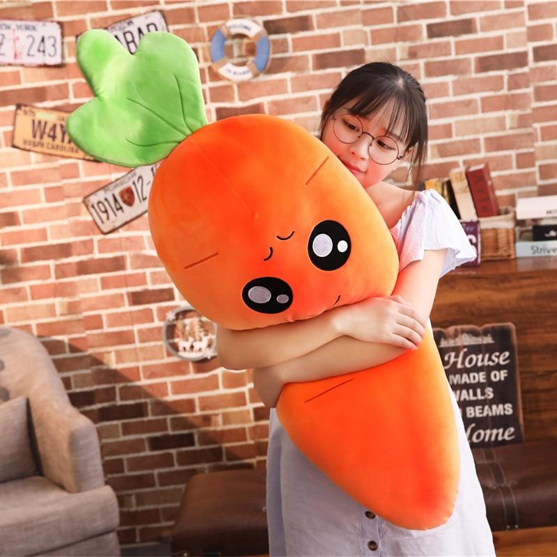 45-110cm Cartoon Plant Smile Carrot Plush toy Cute Simulation Vegetable Carrot Pillow Dolls Stuffed Soft Toys for Children Gift