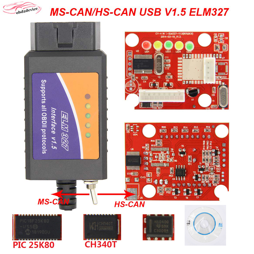 OBD2 <font><b>ELM</b></font> <font><b>327</b></font> <font><b>V1.5</b></font> PIC18F25K80 For ELM327 USB For Windows HS CAN/MS CAN Switch For Ford CH340 Car diagnostic tool Scanner image