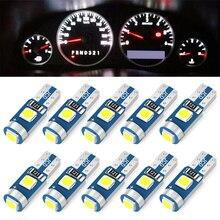 10 шт., суперъяркие светодиодные лампы T5 W1.2W W3W для салосветильник автомобиля, 12 В