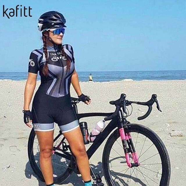 Kafitt pro camisa de ciclismo de manga curta das mulheres terno da bicicleta de estrada roupas esportivas macacão de corrida uniforme bib shorts ciclismo 3