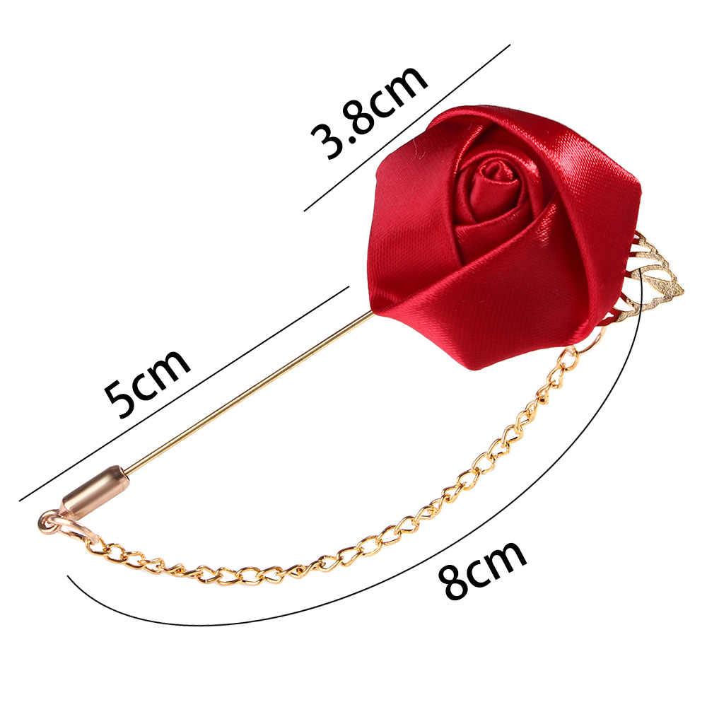 1 PC Fashion Pria Sesuai dengan Daun Emas Mawar Bros Korsase Kerah Bunga Panjang Jarum dengan Rantai Buatan Tangan Lapel Pin Bros