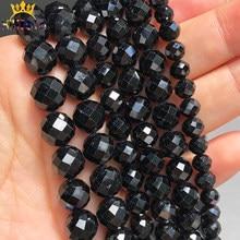 Natural genuino negro turmalina piedra cuentas espaciadoras sueltas para fabricación de joyería DIY pulseras collares 15 pulgadas/4/6/8/10mm