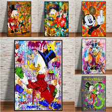 Disney Graffiti Art Mickey Mouse Make Money Canvas Paintings On The Wall Art Pictures Posters And Prints For Living Room Decor