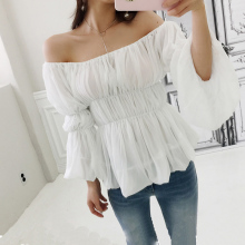 цена на CINESSD The Sexy Off Shoulder Blouse Render Tops Women Autumn Chiffon White Long Flare Sleeve Streetwear Warm Crop Tops