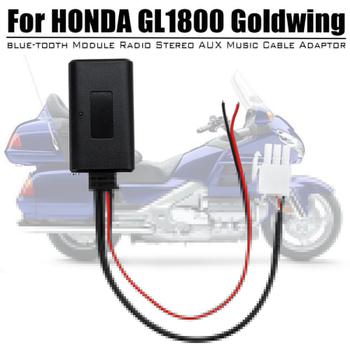 Motocykl adapter bluetooth moduł aux-in kabel Audio dla Honda Goldwing GL1800 tanie i dobre opinie Audew Other 25cm Car blue-tooth Module Cable Adaptor ABS Plastic Kable Adaptery i gniazda Car blue-tooth Module Radio AUX Cable Adaptor