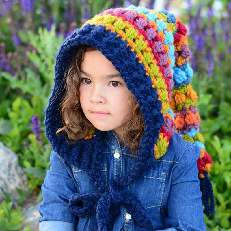 Kids Winter Hats Handmade Crochet Elf Beanie Hat Children Warm Knitted Rainbow False Collar Elf Hat Hooded Cap Boy Girl Xmas Cap