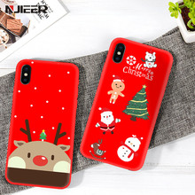 Christmas Phone Case For iPhone X XS XR Xs Max Cute Cartoon Elk Santa Case For iPhone 7 8 6 6S Plus Soft Silicon Back Cover Capa цена и фото