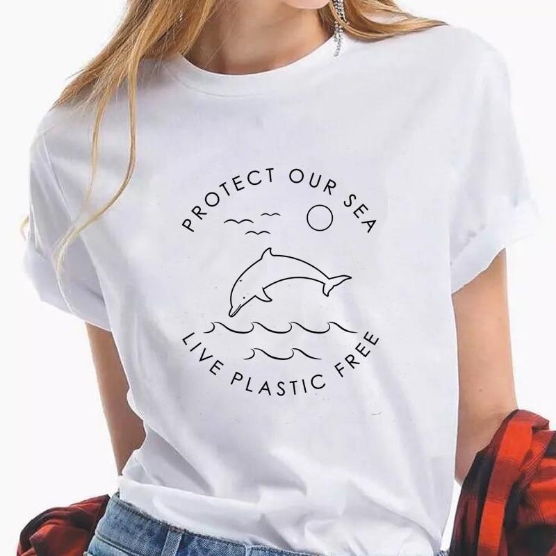 Protect Our Sea Live Plastic Free Eco T-shirt Cute Women Graphic Organic Tee Shirt Top Unisex Summer Short Sleeve Vegan Tshirt