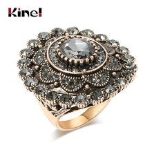 Kinel Fashion Women Ring Antique Gold Unique Grey Crystal Flower Big Rings Vintage Wedding Jewelry Drop Shipping kinel unique antique gold gray crystal big ring for women vintage jewelry party accessories luxury gifts 2020 new drop shipping