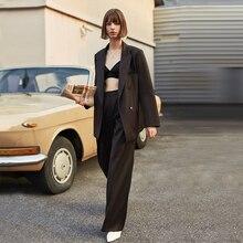 AEL Vintage Autumn Winter Women Pant Suit Dark Brown Loose Blazer Jacket & Wide Leg Pants 2019 Office Suits Female Sets