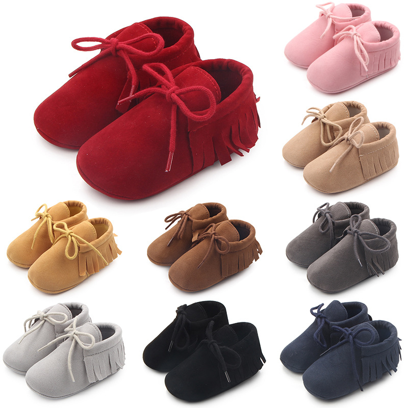 Boy Girl Soft Moccs Fringe Soft Soled Non-slip Footwear Shoes PU Suede Leather Newborn Baby Moccasins 0-18M