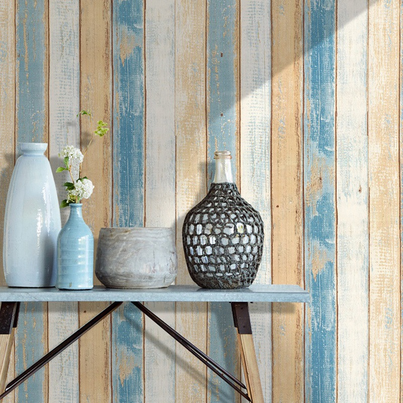 6M Vinyl 3D Mediterranean Wood Grain Paper Self Adhesive Wallpaper Furniture Wall Stickers