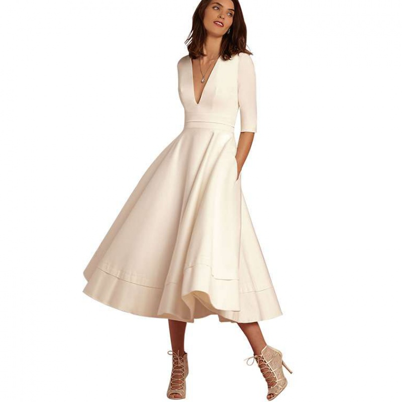 Holievery Satin A Line Cocktail Dresses With Pockets 2020 V Neckline Midi Party Dress In Stock Formal Gown