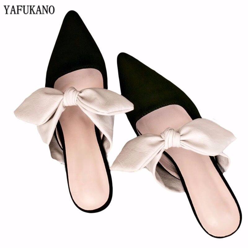2020 Women Mules Slippers Med Heel Sandals Summer Slip On Slides Brand Butterfly-knot Point Toe Flip Flops Outdoor Slipper