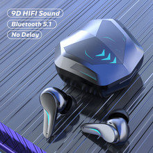 Headphones Wireless Bluetooth Earphones 5.1 TWS with Mic Touch Control Gaming Headset HIFI Stereo Noise Cancelling