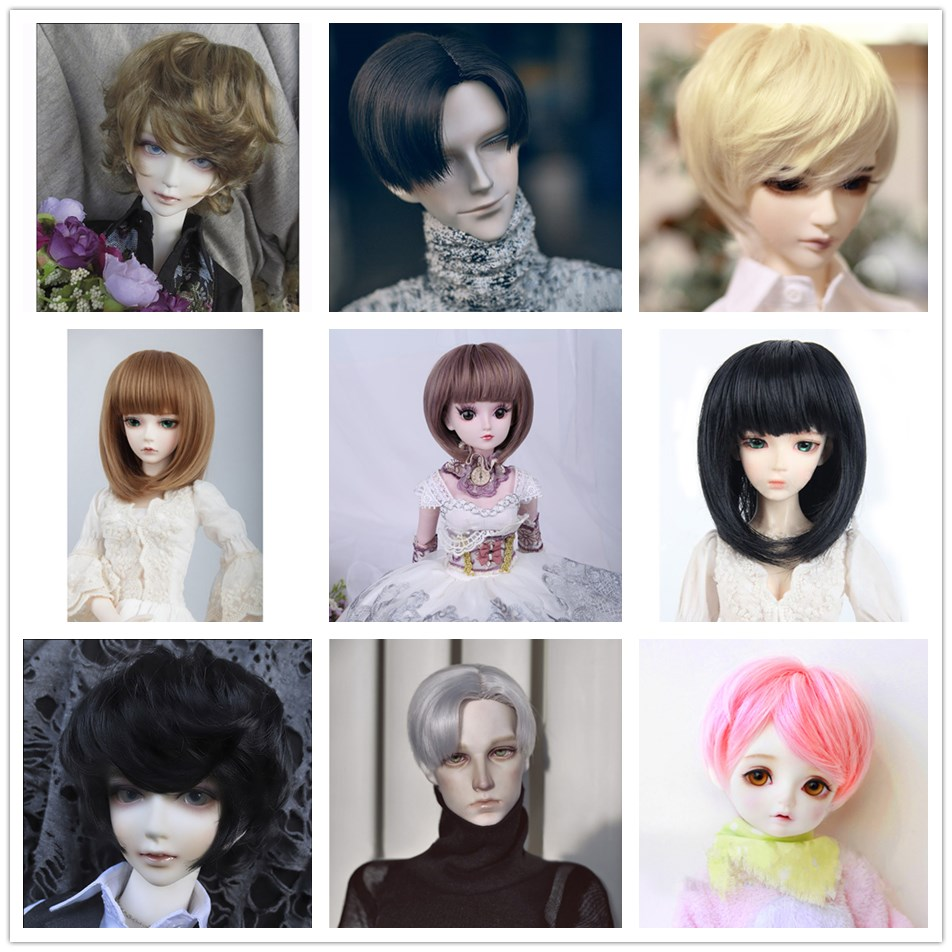 Bybrana BJD Wig For 1/3 1/4 High Temperature Fiber Girl And Boy Bangs Short And Long Hair For Dolls