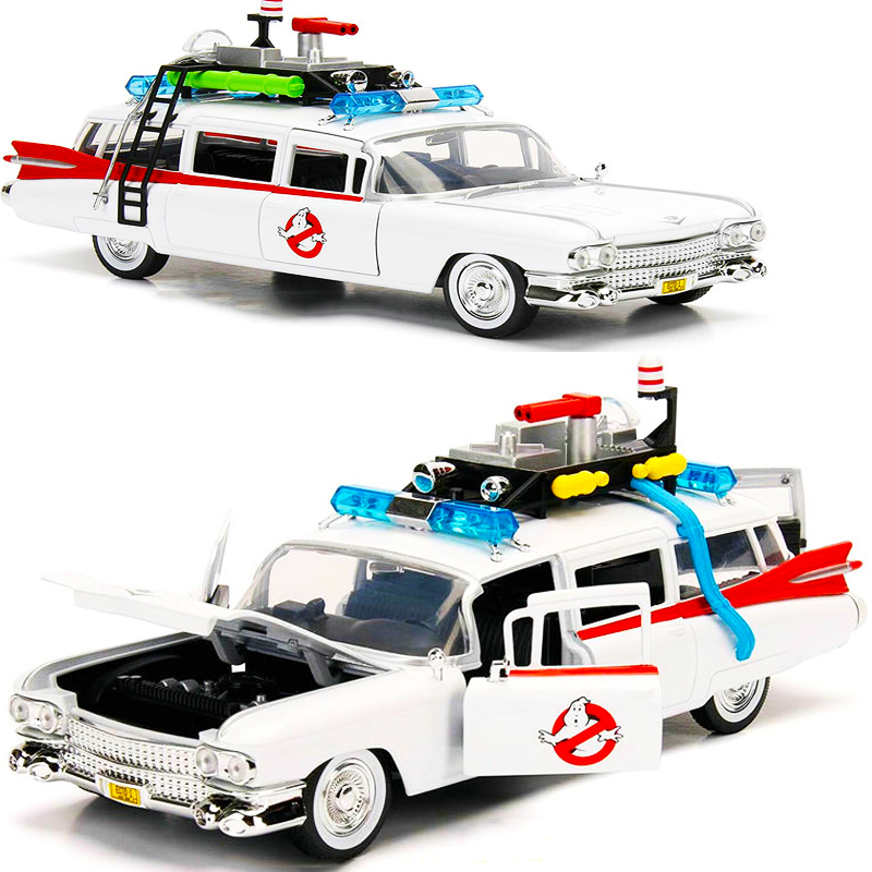 1:24 1984 Ghostbusters Alloy Diecast Classic Car Model Simulation Retro Collection Metal Vehicle Toy Collectible Traffic Artwork