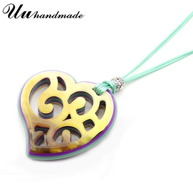 Фото готическое акриловое сердце кожаная цепочка ожерелье кулон богемные цена