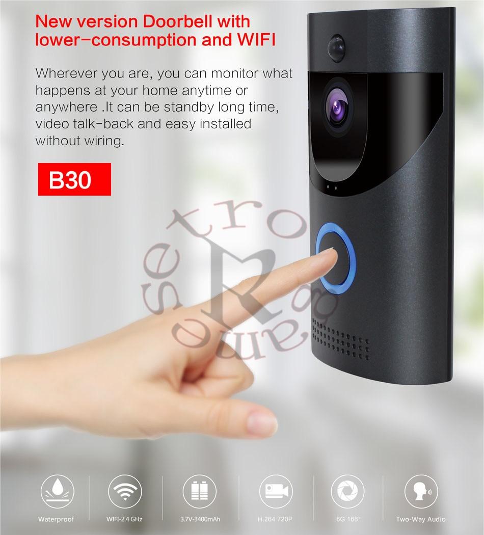 Anytek B30 WIFI Doorbell B30 IP65 Waterproof Smart Video Door Chime 720P Wireless Intercom FIR Alarm IR Night Vision IP Camera