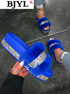 2020 Fashion New Bling Women Plush Slippers Fur Slides Rhinestones Home Flat Women Platform Warm Slippers Casual Slippers Fluffy
