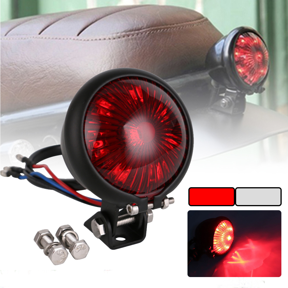 SPEEDPARK Motorcycle Red 12V LED Adjustable Cafe Racer Style Stop Tail Light Motorbike Brake Rear Lamp Taillight For Chopper