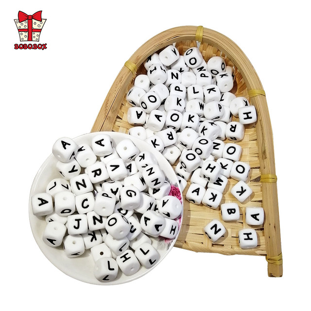 BOBO.BOX 10Pcs Silicone English Alphabet Beads Letter BPA Free Material For DIY Baby Teething Necklace Baby Teether 5