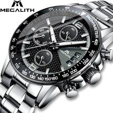 MEGALITH ผู้ชายนาฬิกาควอตซ์ 30M กันน้ำสแตนเลสสตีลนาฬิกาข้อมือผู้ชาย Auto Date นาฬิกาข้อมือนาฬิกา Relojes