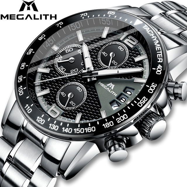 MEGALITH גברים שעונים עסקים קוורץ 30M עמיד למים נירוסטה רצועה שעונים עבור גברים של תאריך אוטומטי שעוני יד שעון Relojes