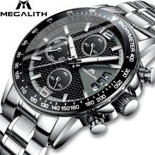 MEGALITH Männer Uhren Business Quarz 30M Wasserdichte Edelstahl Armband Uhren Für männer Auto Datum Armbanduhren Uhr Uhren