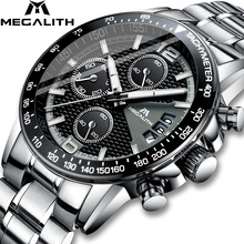 MEGALITH Men Watches Business Quartz 30M Waterproof Stainless Steel Strap Watches For Mens Auto Date Wristwatches Clock Relojes