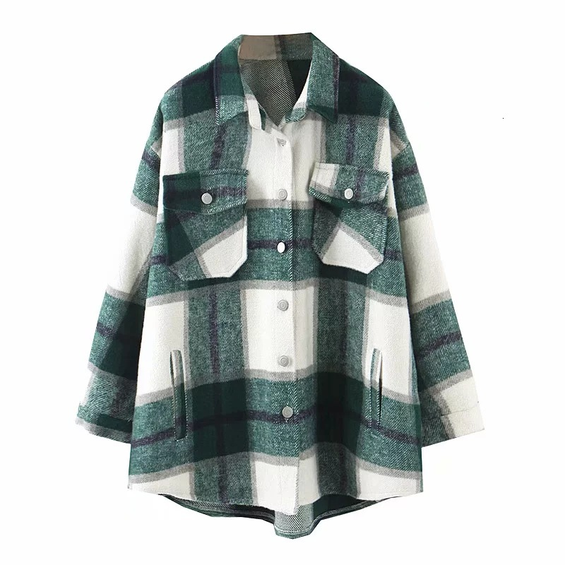 Hc85673b32a954cb38f550106bc663c01t 2019 Autumn Winter Plaid Oversize Jackets Loose Causal Checker Streetwear Coat