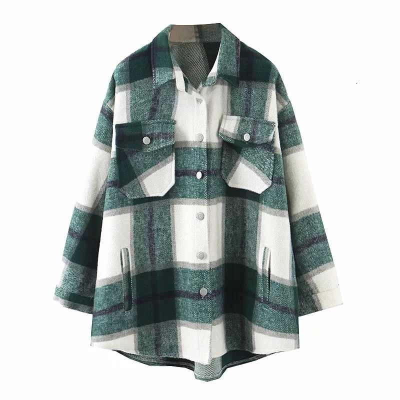 2019 Herfst Winter Plaid Oversize Jassen Losse Causale Checker Streetwear Jas