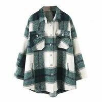 Осень-зима 2019, клетчатые Куртки Оверсайз, Свободные повседневные клетчатые уличные пальто