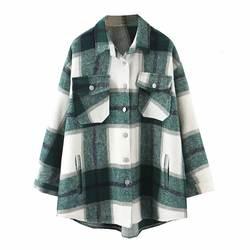 2019 осенне-зимние клетчатые Куртки Оверсайз Свободные повседневные клетчатые пальто