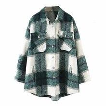 2019 Autumn Winter Plaid Oversize Jackets Loose Causal Checker Streetwear