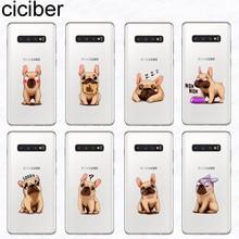 ciciber Phone Case for Samsung Galaxy S10 S9 S8 Plus S10e S10+ Soft TPU Cover S7 S6 S5 Edge mini Capa French Bulldog