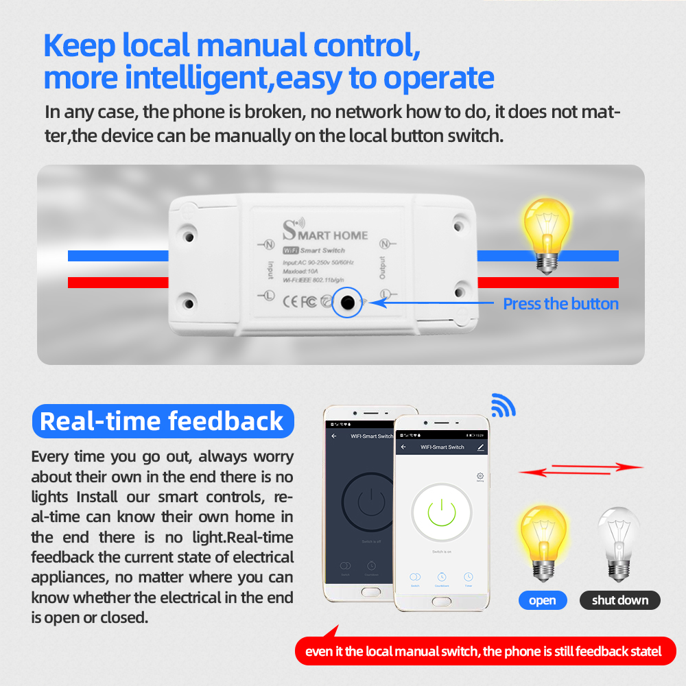 DIY Smart Home House Wifi Wireless Remote Switch Domotica LED Light Controller Module for Alexa Google Home Smartlife Tuya APP 6