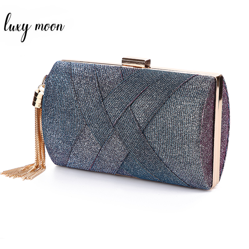 Luxy Moon Ladies Hand Bag Women Wedding Clutch Evening Bags Sequin Purse For Bridal Luxury Elegant Tassel Shoulder Bag ZD1495