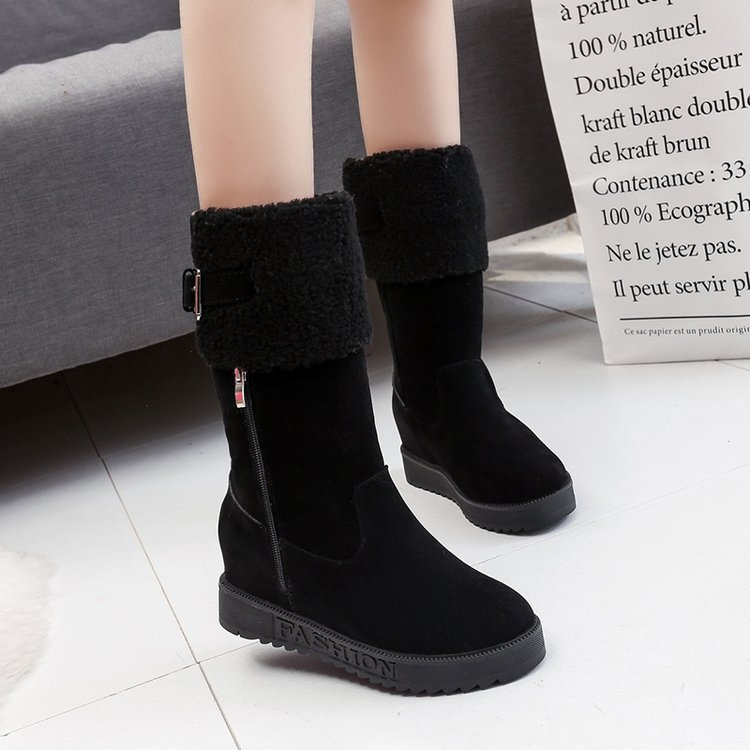 Koznoy Snow Boots Women Winter Dropshipping Wedges Med Heel Short Plush Flock Solid Round Toe Fashion Leisure Cotton Boots in Mid Calf Boots from Shoes