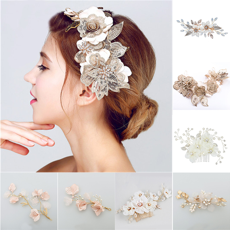 Cloth Floral Bridal Hair Hoop Women's Jewelry Accessories Beauty Handmade Big Flower Bride Headwear Headcomb Charms Headdress