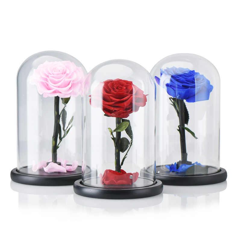ประดิษฐ์กุหลาบดอกไม้ดอกไม้ตกแต่งความงามและ Beast โดมแก้วฐานไม้ดอกไม้ปลอมสำหรับปีใหม่วาเลนไทน์ของขวัญ
