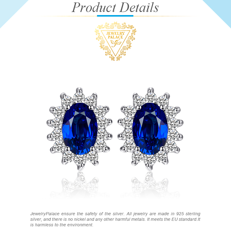 Hc8571f77b4e24b1493e1af90f1ba3ddeW JPalace Diana Created Blue Sapphire Stud Earrings 925 Sterling Silver Earrings For Women Korean Earings Fashion Jewelry 2019