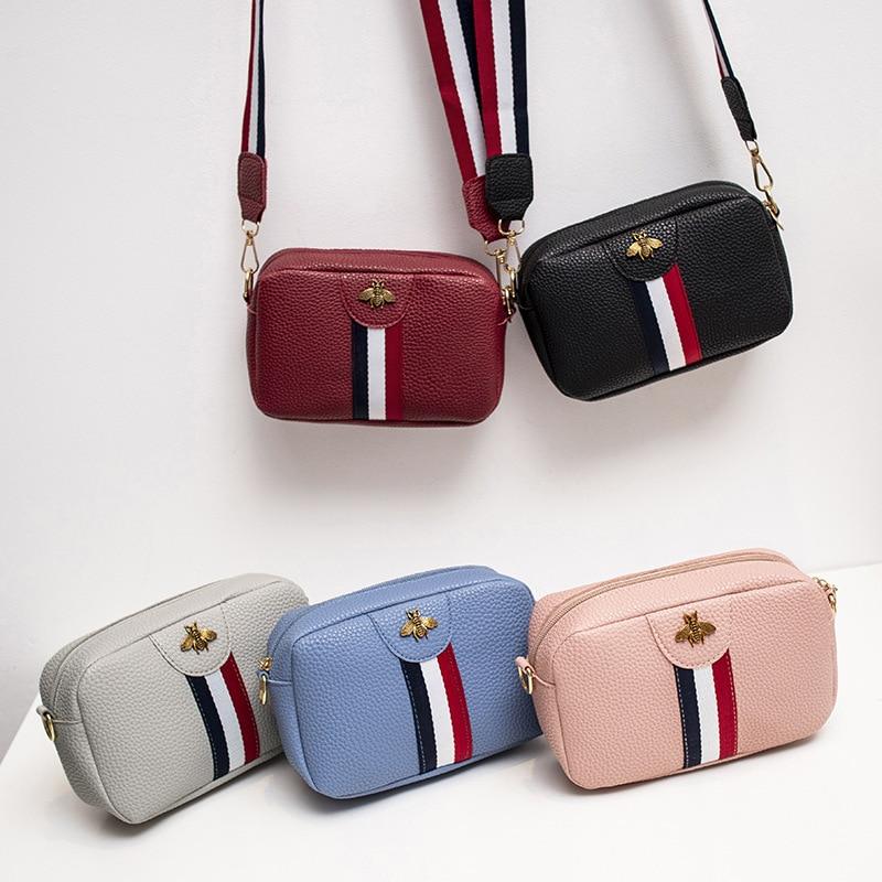 2020 Fashion Women Messager Bag Contrast Color Wide Strap Girls Shoulder Bag Bees Mobile Phone Bag Square Sling Crossbody Bag