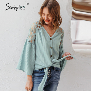 Image 2 - Simplee Sexy v neck women blouse Elegant lace embroidery hollow out loose sleeve office tops Lace up autumn female blouse shirts