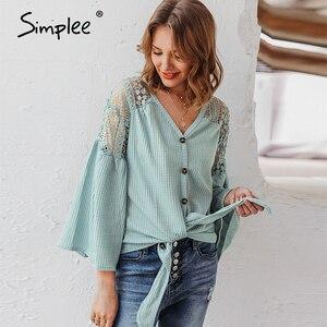Image 2 - Simplee seksi v yaka kadın bluz zarif dantel nakış hollow out gevşek kollu ofis üstleri dantel up sonbahar kadın bluz gömlek